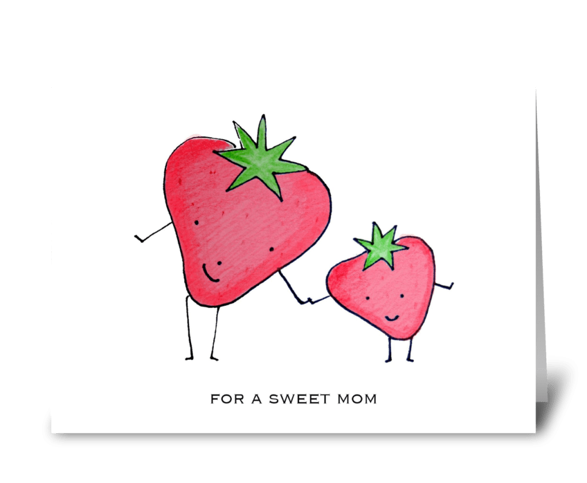 Strawberry Mom greeting card