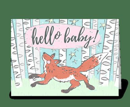 Hello Baby Fox greeting card