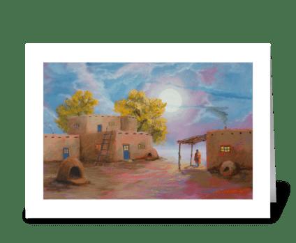 Pueblo De Las Lunas greeting card