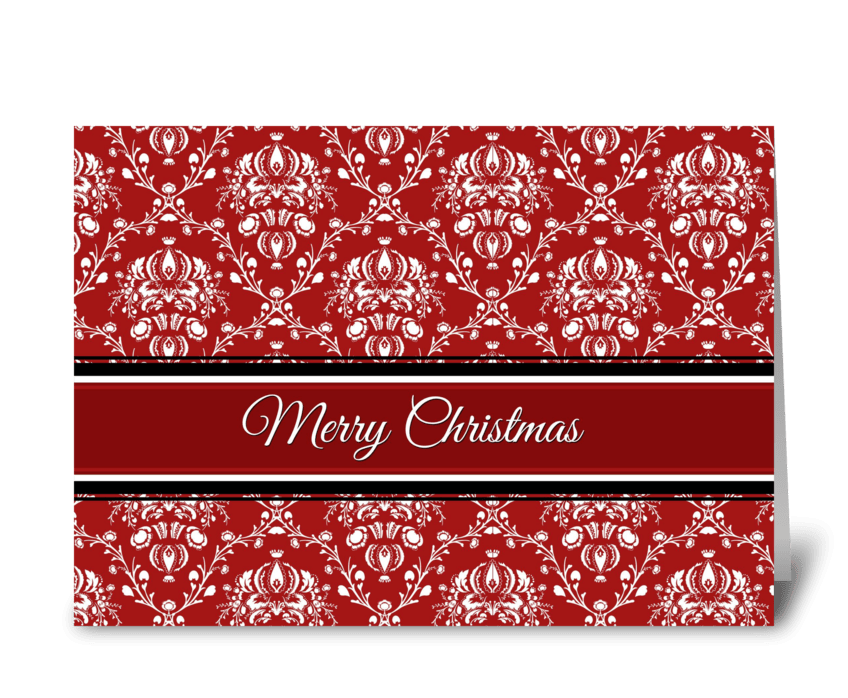 Merry Christmas Red Damask greeting card