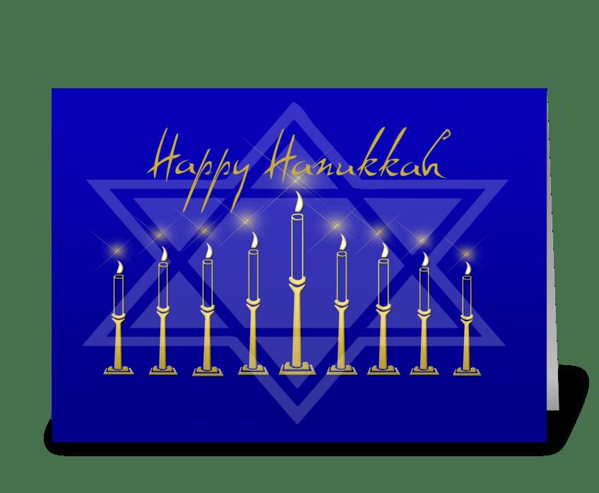 Hanukkah Menorah Star of David greeting card