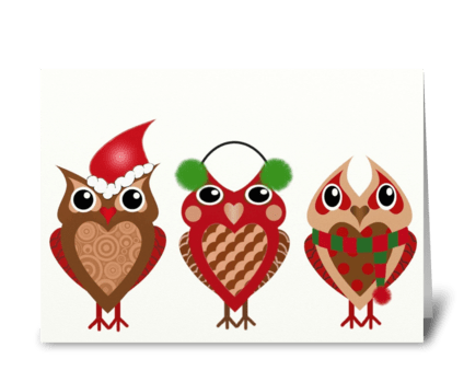 Holiday Owls greeting card