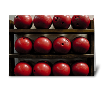 Red Bowling Balls greeting card