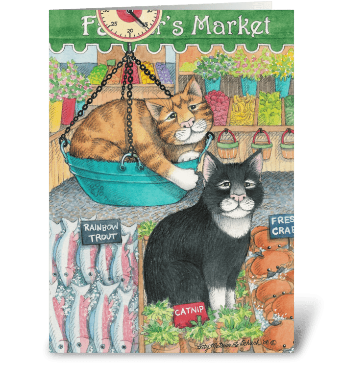 Farmer's Market Cats #42 greeting card