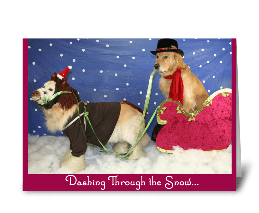 A Golden Sleigh Ride Christmas greeting card