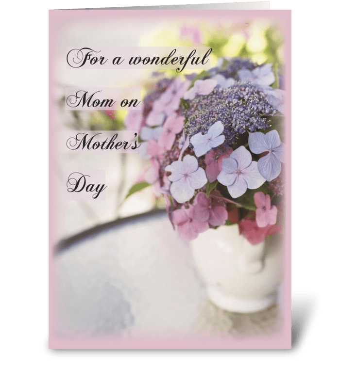 Mother's Day Flowers on Table greeting card