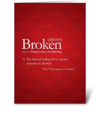 Broken greeting card