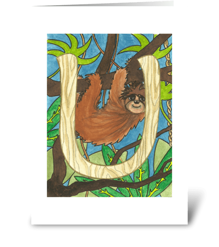 U for Unau (Sloth) greeting card