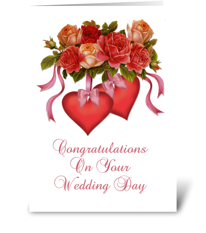 Hearts flowers wedding congratulations send this greeting card hearts flowers wedding congratulations greeting card m4hsunfo
