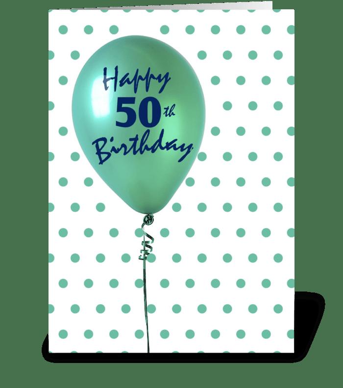 50th Birthday Balloon greeting card