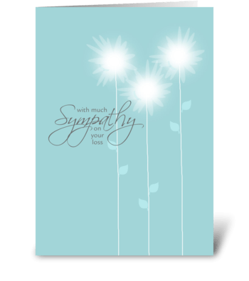 With Much Sympathy - Soft Flowers greeting card