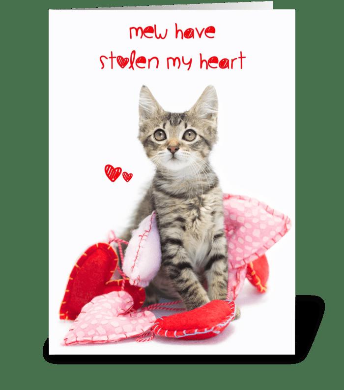 Mew Stole My Heart kitten Valentine greeting card