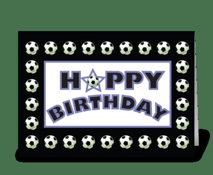 Soccer Sports Birthday, Black White greeting card