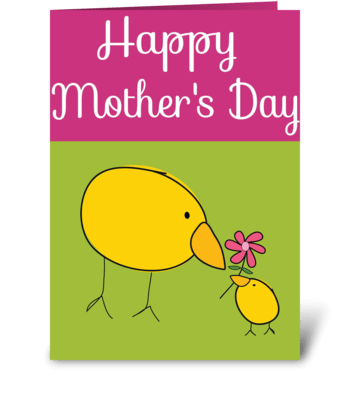 Baby Chick Loves Mommy greeting card