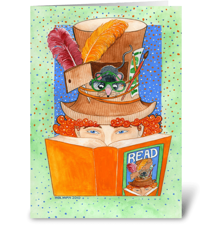 Reading Mouse Note Card greeting card