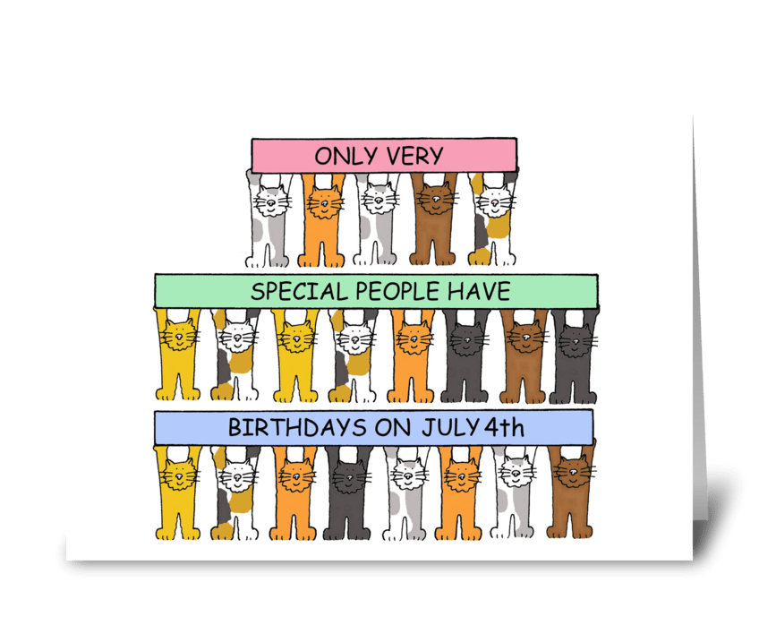 Happy July 4th Birthday cute cats. greeting card