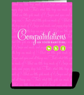 Sugar & Spice Baby Girl greeting card