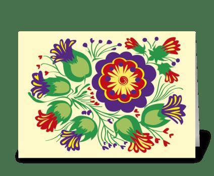Floral_folk-red'n'violet-flowers greeting card