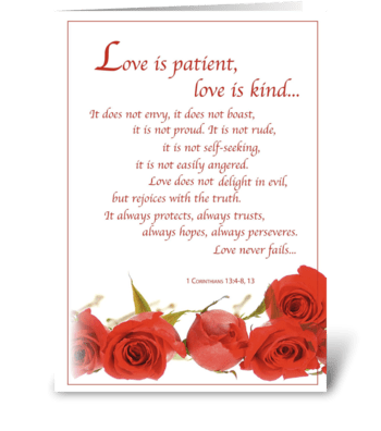 Wedding, Love is Patient, Red Rose greeting card
