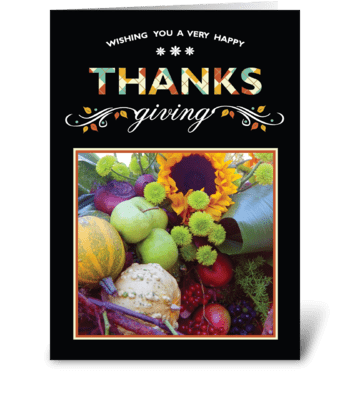 Thanksgiving Card on Black greeting card