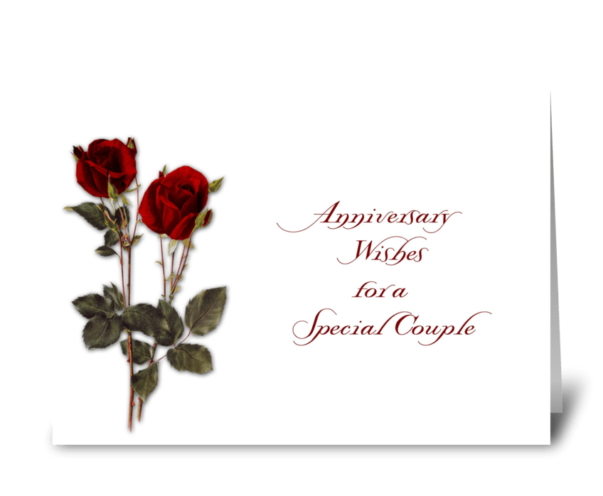 Red Roses Anniversary Wishes greeting card