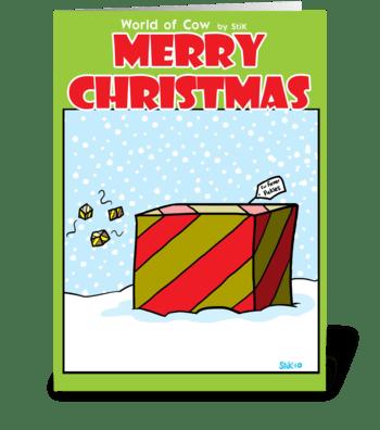 Cow Christmas Present greeting card