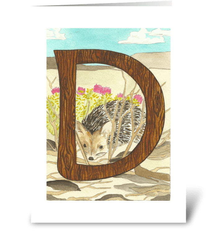 D for Desert Hedgehog greeting card