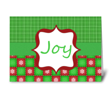 "Red & Green ""Joy"" Holiday Greeting greeting card"