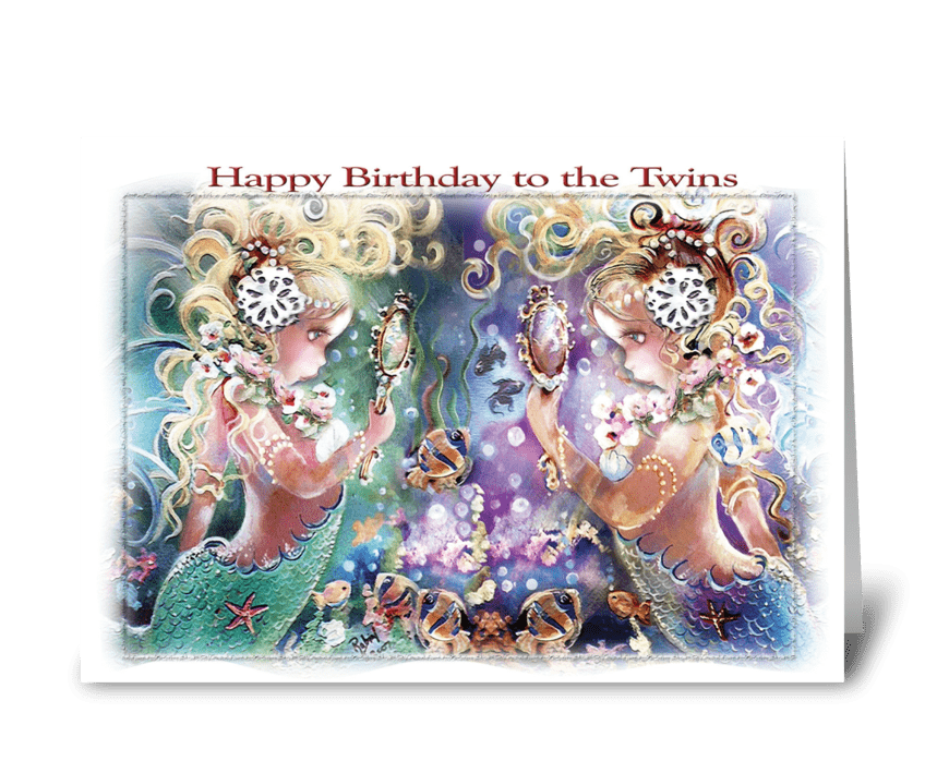 Twins Birthday, Mermaid Themed ART greeting card