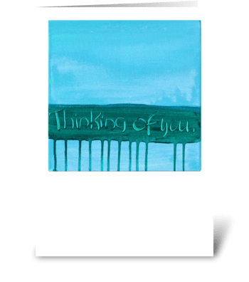 Thinking of You - Green on Blue greeting card