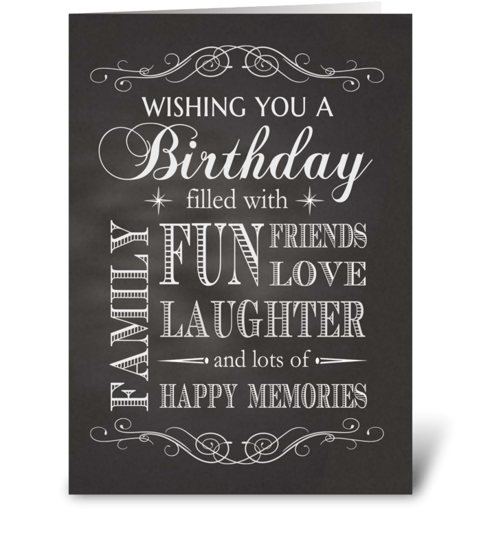 Chalkboard Birthday filled with fun etc. greeting card