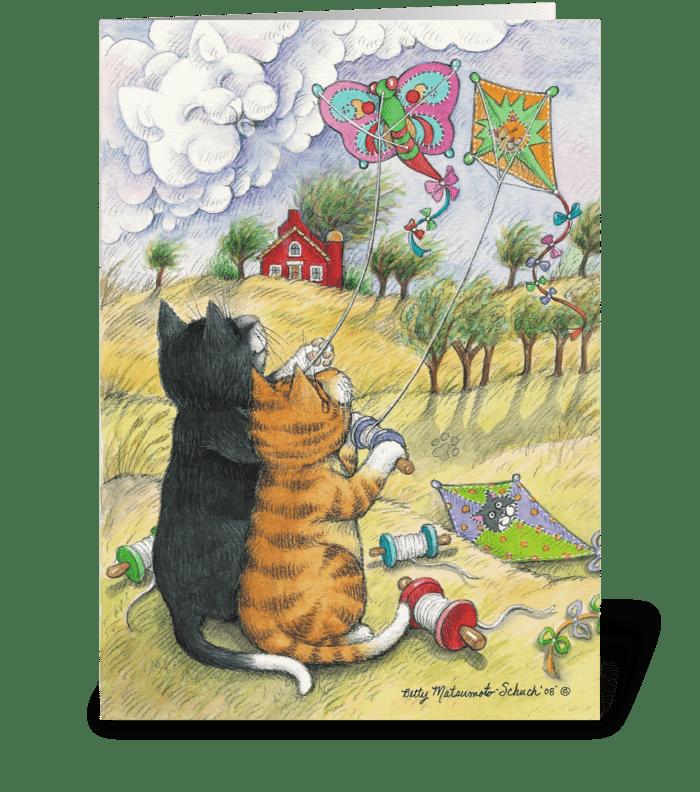Kite Flying Cats Birthday #31 greeting card