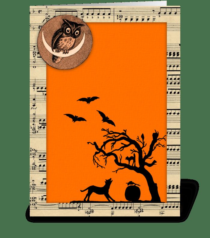 Vintage Themed Halloween Greeting greeting card