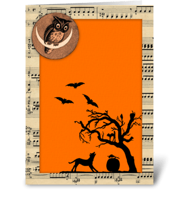Vintage Themed Halloween Greeting greeting card