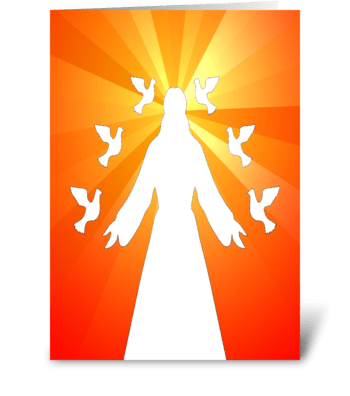 christ with doves greeting card