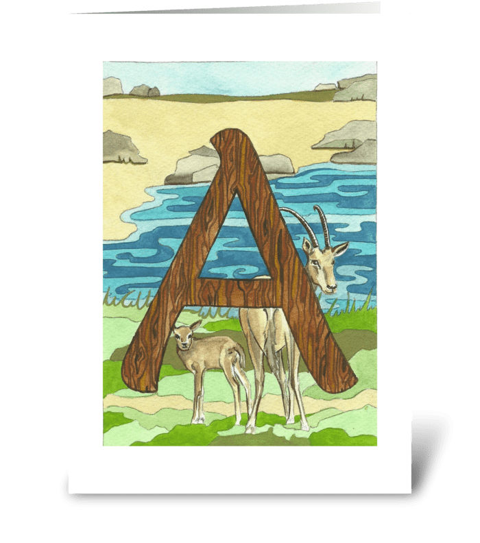 A for Antelope greeting card