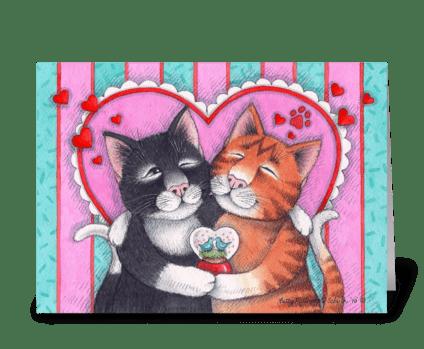 Valentine Hug Cats #73 greeting card