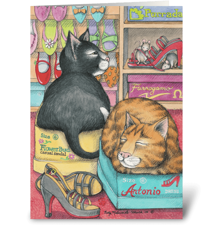 Shoes & Cats Birthday #41 greeting card