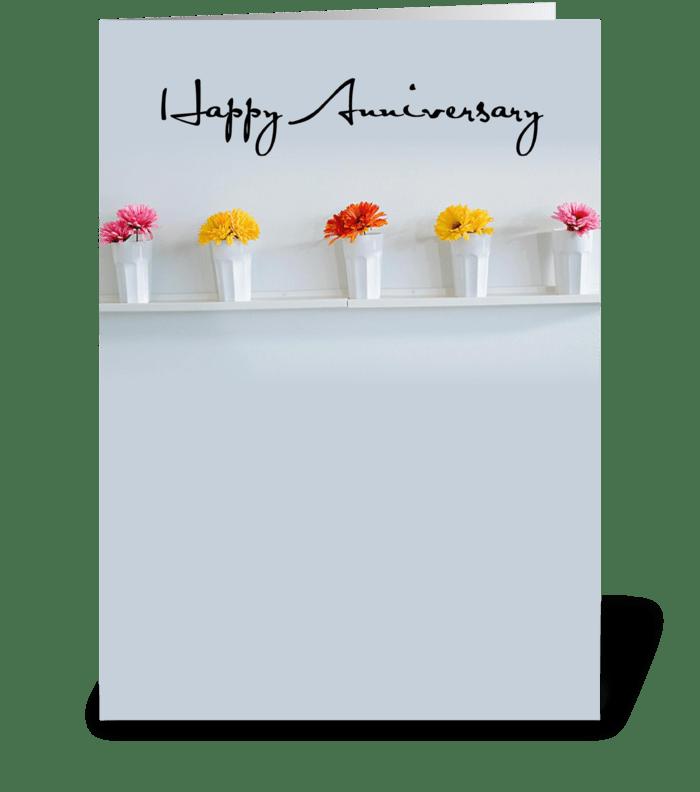 4006 Anniversary Row of Flowers greeting card