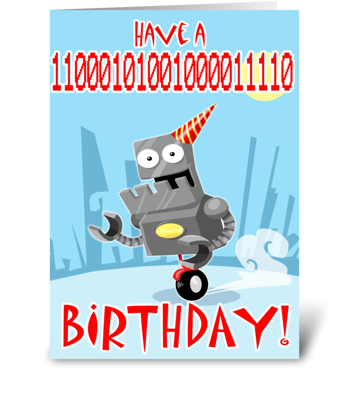 Have a 11000101001000011110 Birthday greeting card