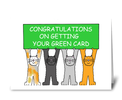 Green Card Congratulations, Cartoon Cats greeting card