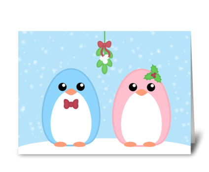 Cute Holiday Penguin Couple  greeting card