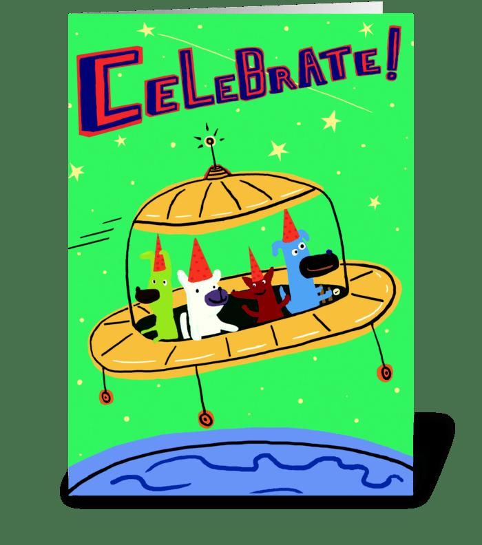 Yellow Space Ship Birthday greeting card