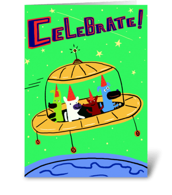 Yellow Space Ship Birthday greeting card