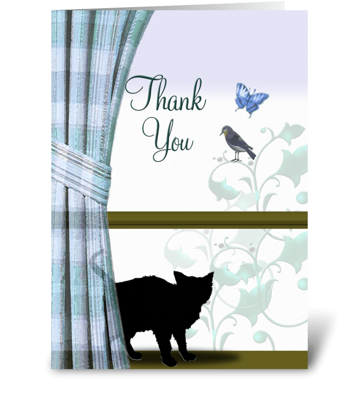 Kitty in the Window, thank you  greeting card