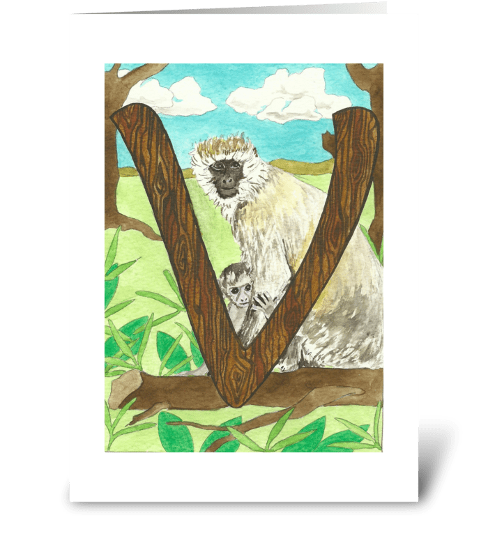 V for Vervet Monkey greeting card