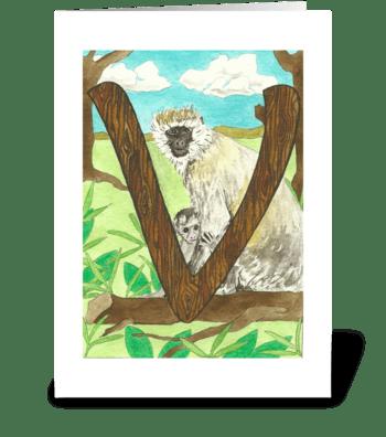 V for Vervet Monkey greeting card