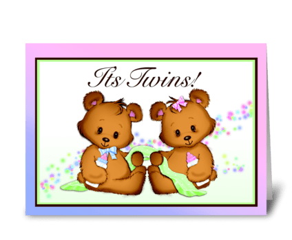 It's Twins! Boy and Girl! greeting card