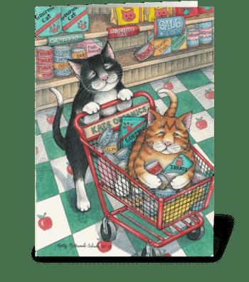 Shopping Cats Birthday #9 greeting card