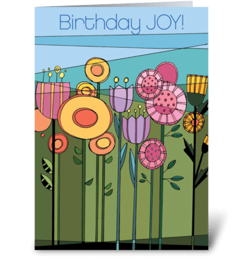 Floral Fetish Birthday JOY greeting card